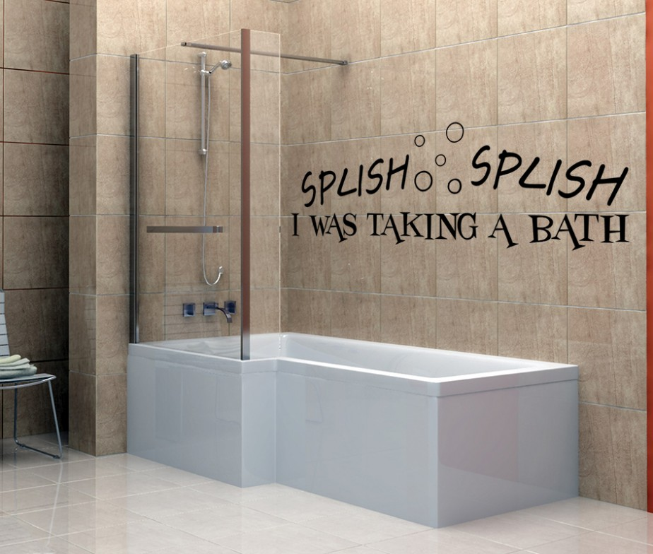 vinyl wall decals splish splash i was taking a bath 3 sticker. Black Bedroom Furniture Sets. Home Design Ideas