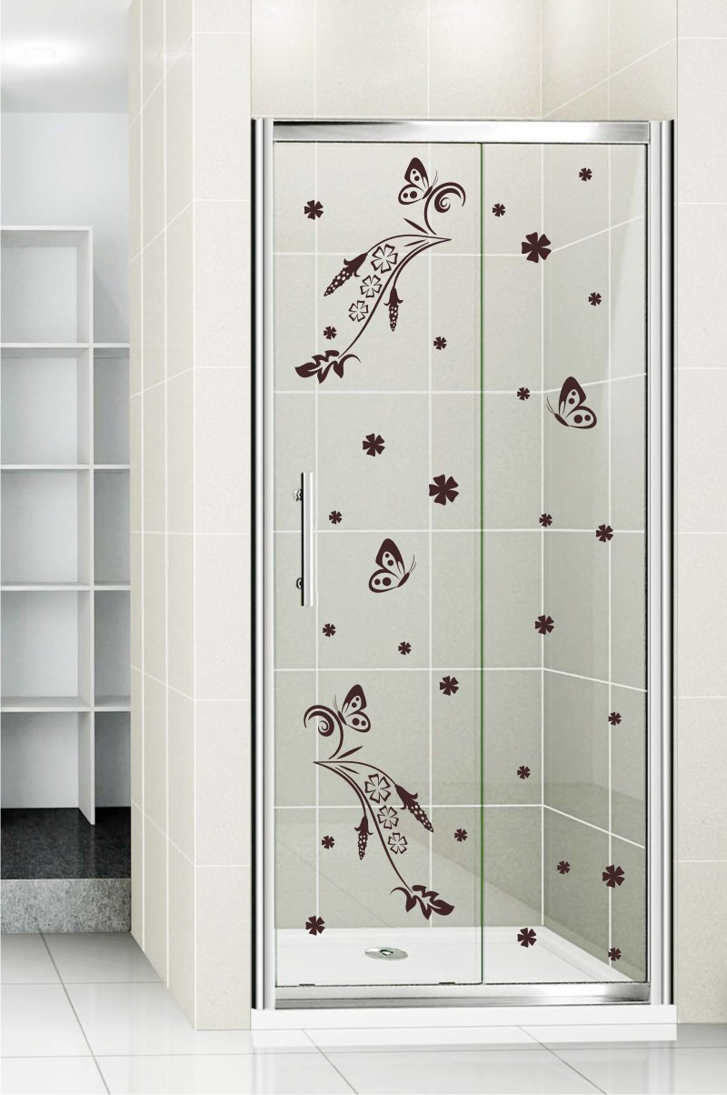 Shower door vinyl decal 7