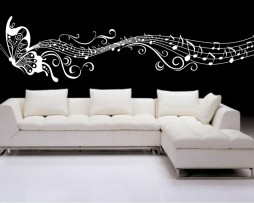 Butterfly and Musical Notes Sticker