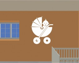Cute Baby Carriage Sticker