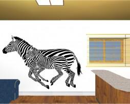 Two Zebras Running Sticker