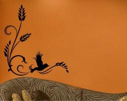 Ornate Bird Flying Corner Sticker