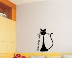 Black Cat Sign Sticker