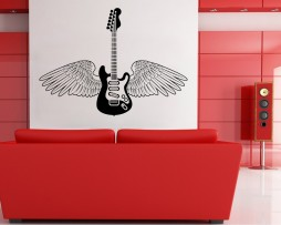 Guitar with Wings Sticker