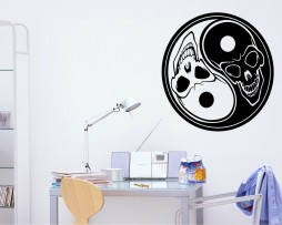 Skull Ying-Yang Design Sticker