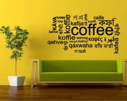 Coffee Many Languages Sticker