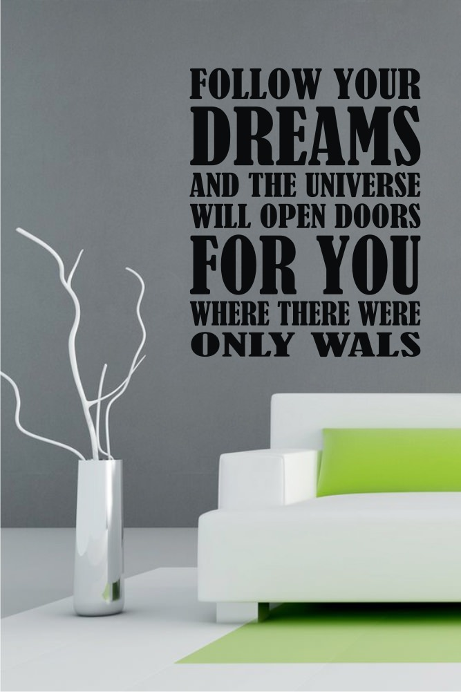 FOLLOW YOUR DREAMS Arrows Words Lettering Vinyl Wall Decal ...