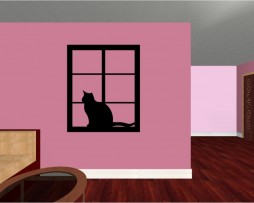 Cat in Window Sticker